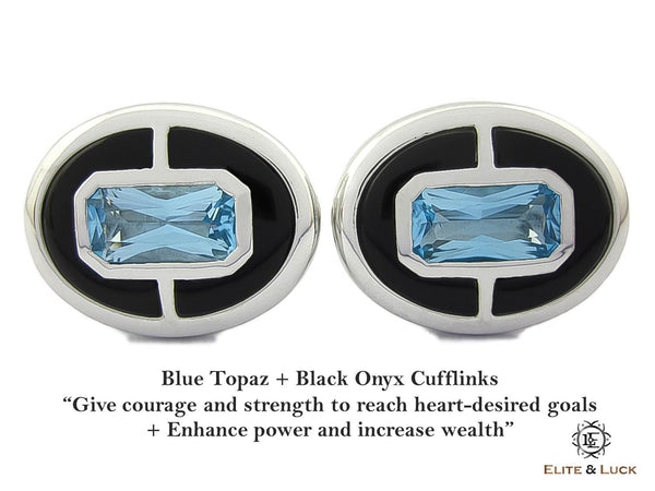 Blue Topaz + Black Onyx Sterling Silver Cufflinks, Rhodium plated, Prestige Model