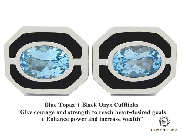 Blue Topaz + Black Onyx Sterling Silver Cufflinks, Rhodium plated, Charming Model