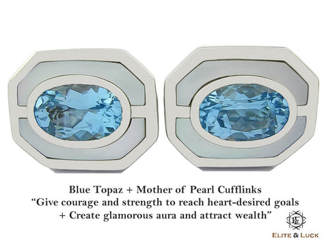 Blue Topaz + Mother of Pearl Sterling Silver Cufflinks, Rhodium plated, Charming Model