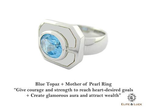 Blue Topaz + Mother of Pearl Sterling Silver Ring, Rhodium plated, Charming Model