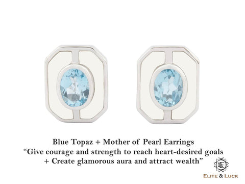 Blue Topaz + Mother of Pearl Sterling Silver Earrings, Rhodium plated, Charming Model