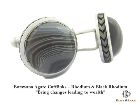 Botswana Agate Sterling Silver Cufflinks, Rhodium & Black Rhodium plated, Limited Model