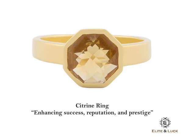 Citrine Sterling Silver Ring, 18K Yellow Gold plated, Glamorous Model