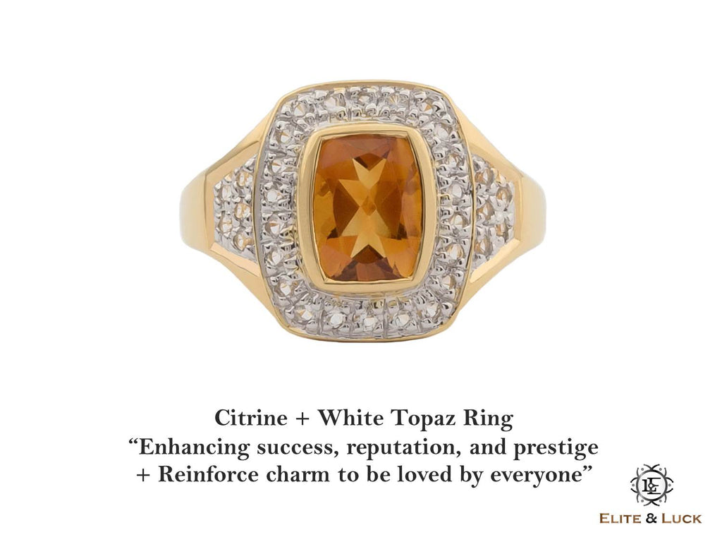 eb738237e5e90 Citrine + White Topaz Sterling Silver Ring, 18K Yellow Gold plated, Deluxe  Model