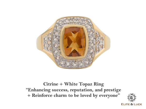 Citrine + White Topaz Sterling Silver Ring, 18K Yellow Gold plated, Deluxe Model