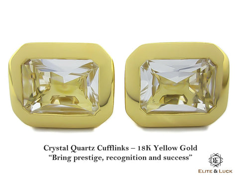 Crystal Quartz Sterling Silver Cufflinks, 18K Yellow Gold plated, Classic Model