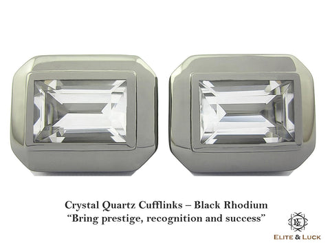 Crystal Quartz Sterling Silver Cufflinks, Black Rhodium plated, Elite Model