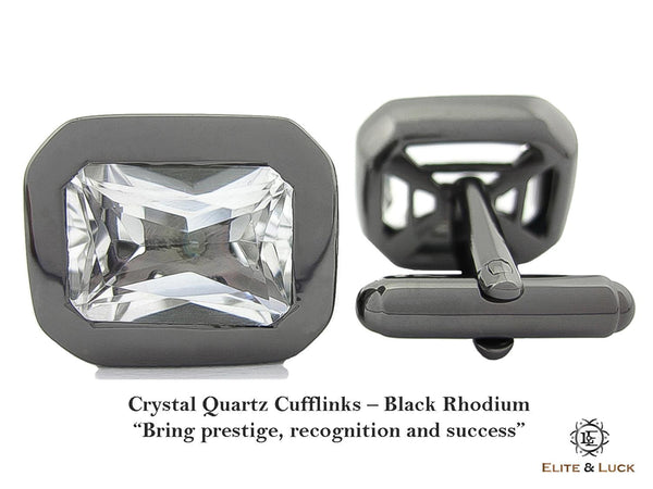 Crystal Quartz Sterling Silver Cufflinks, Black Rhodium plated, Classic Model