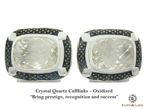 Crystal Quartz Sterling Silver Cufflinks, Oxidized, Luxury Model