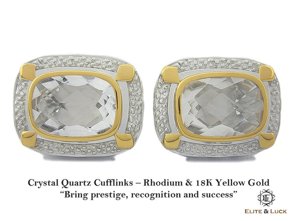 Crystal Quartz Sterling Silver Cufflinks, Rhodium & 18K Yellow Gold plated, Luxury Model