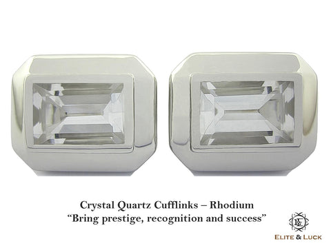Crystal Quartz Sterling Silver Cufflinks, Rhodium plated, Elite Model