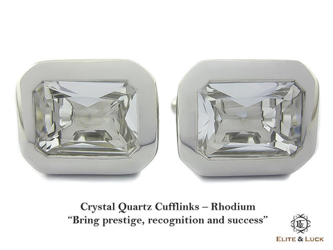 Crystal Quartz Sterling Silver Cufflinks, Rhodium plated, Classic Model