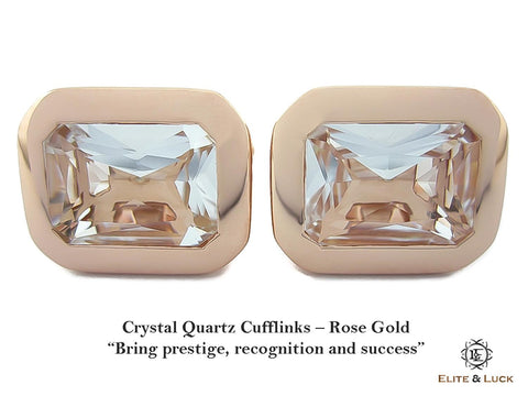 Crystal Quartz Sterling Silver Cufflinks, Rose Gold plated, Classic Model