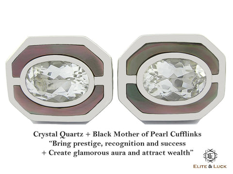 Crystal Quartz + Black Mother of Pearl Sterling Silver Cufflinks, Rhodium plated, Charming Model