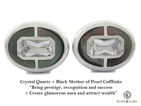 Crystal Quartz + Black Mother of Pearl Sterling Silver Cufflinks, Rhodium plated, Prestige Model