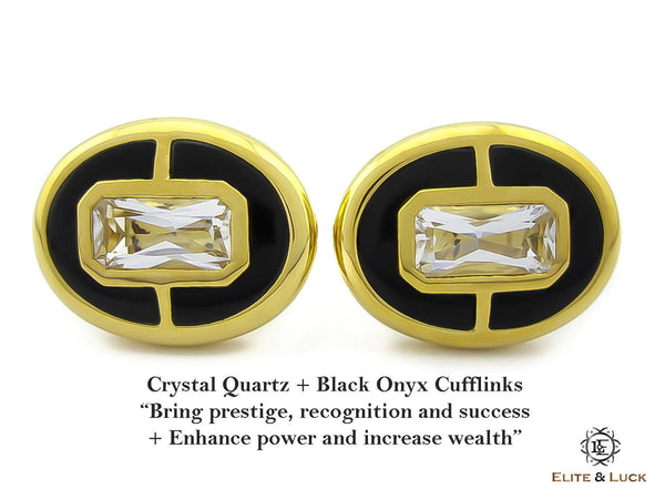 Crystal Quartz + Black Onyx Sterling Silver Cufflinks, 18K Yellow Gold plated, Prestige Model