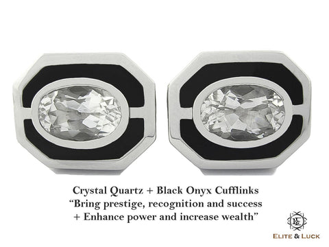 Crystal Quartz + Black Onyx Sterling Silver Cufflinks, Rhodium plated, Charming Model