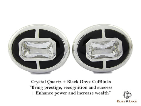 Crystal Quartz + Black Onyx Sterling Silver Cufflinks, Rhodium plated, Prestige Model