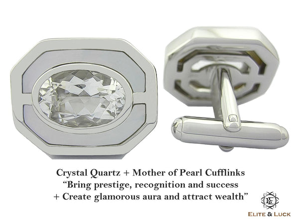 Crystal Quartz + Mother of Pearl Sterling Silver Cufflinks, Rhodium plated, Charming Model