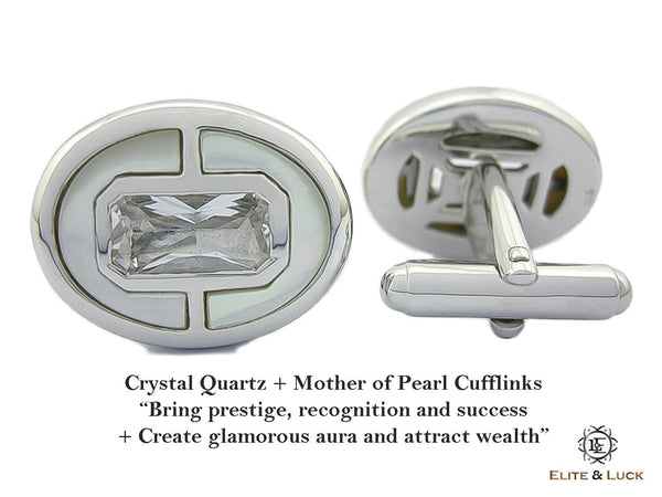 Crystal Quartz + Mother of Pearl Sterling Silver Cufflinks, Rhodium plated, Prestige Model