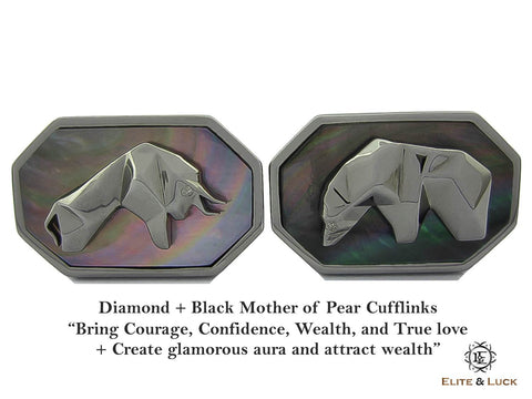 Diamond + Black Mother of Pearl Sterling Silver Cufflinks, Black Rhodium plated, Bull & Bear Model