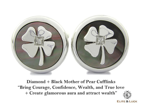 Diamond + Black Mother of Pearl Sterling Silver Cufflinks, Rhodium plated, Lucky Model