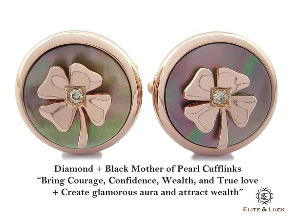 Diamond + Black Mother of Pearl Sterling Silver Cufflinks, Rose Gold plated, Lucky Model