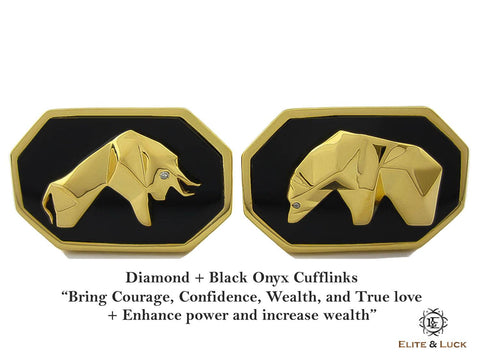 Diamond + Black Onyx Sterling Silver Cufflinks, 18K Yellow Gold plated, Bull & Bear Model