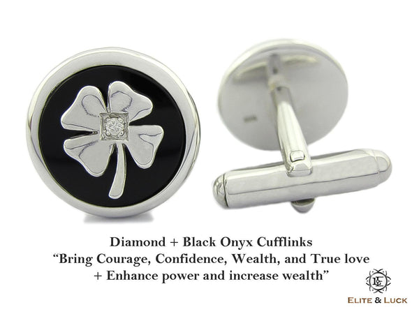 Diamond + Black Onyx Sterling Silver Cufflinks, Rhodium plated, Lucky Model