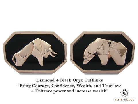 Diamond + Black Onyx Sterling Silver Cufflinks, Rose Gold plated, Bull & Bear Model