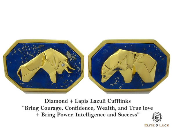 Diamond + Lapis Lazuli Sterling Silver Cufflinks, 18K Yellow Gold plated, Bull & Bear Model