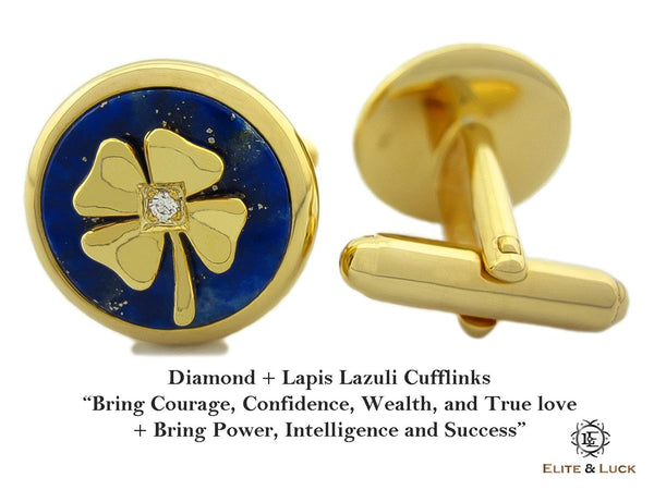 Diamond + Lapis Lazuli Sterling Silver Cufflinks, 18K Yellow Gold plated, Lucky Model