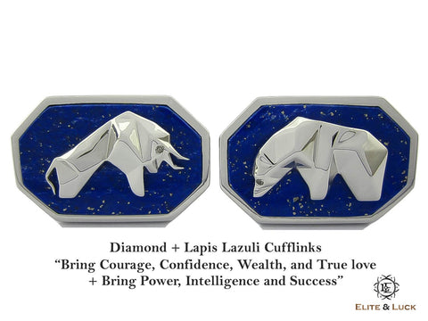 Diamond + Lapis Lazuli Sterling Silver Cufflinks, Rhodium plated, Bull & Bear Model