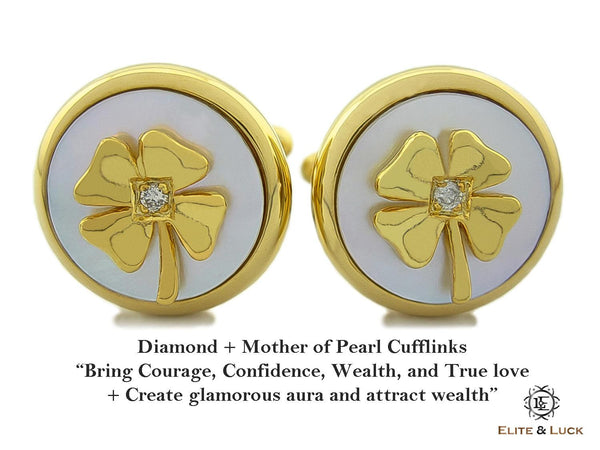 Diamond + Mother of Pearl Sterling Silver Cufflinks, 18K Yellow Gold plated, Lucky Model