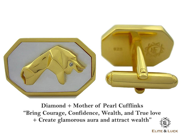 Diamond + Mother of Pearl Sterling Silver Cufflinks, 18K Yellow Gold plated, Bull & Bear Model