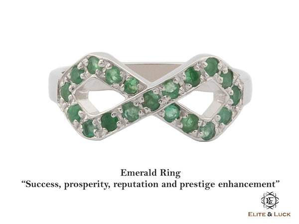 Emerald Sterling Silver Ring, Rhodium plated, Infinite Model