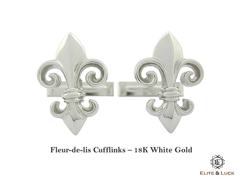 Fleur-de-lis 18K White Gold Cufflinks, Exclusive Model