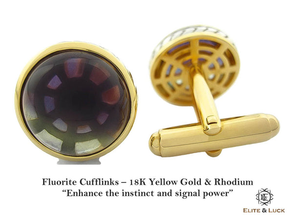 Fluorite Sterling Silver Cufflinks, 18K Yellow Gold & Rhodium plated, Limited Model