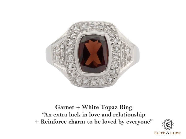 Garnet + White Topaz Sterling Silver Ring, Rhodium plated, Deluxe Model