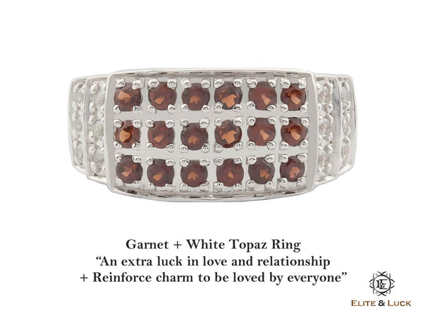 Garnet + White Topaz Sterling Silver Ring, Rhodium plated, Noble-II Model