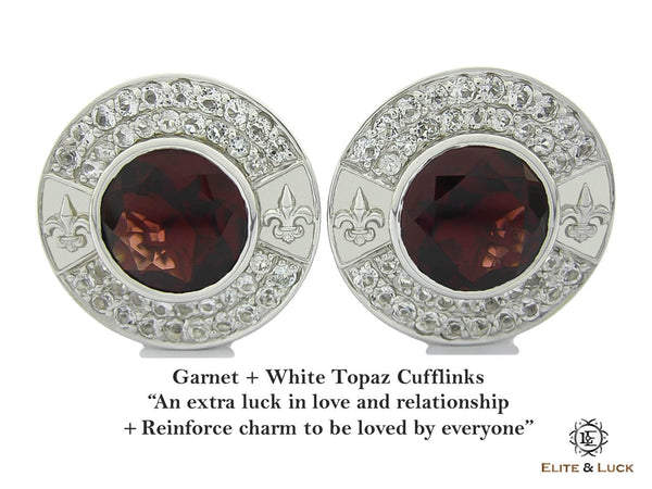 Garnet + White Topaz Sterling Silver Cufflinks, Rhodium plated, Royal Model