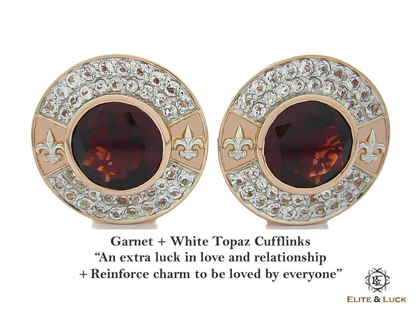 Garnet + White Topaz Sterling Silver Cufflinks, Rose Gold & Rhodium plated, Royal Model