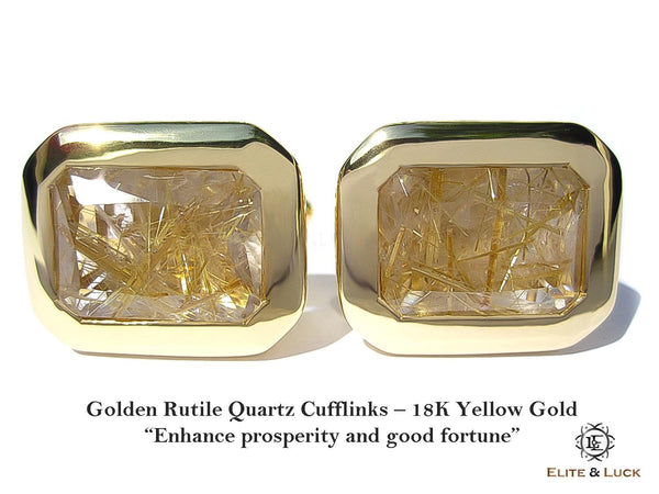 "Golden Rutile Quartz Sterling Silver Cufflinks ""True King's Quality"", 18K Yellow Gold plated, Classic Model"