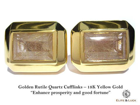 Golden Rutile Quartz Sterling Silver Cufflinks, 18K Yellow Gold plated, Elite Model