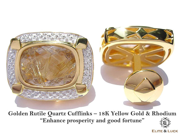 Golden Rutile Quartz Sterling Silver Cufflinks, 18K Yellow Gold & Rhodium plated, Luxury Model