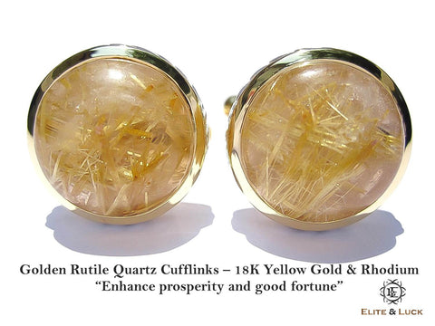 Golden Rutile Quartz Sterling Silver Cufflinks, 18K Yellow Gold & Rhodium plated, Limited Model