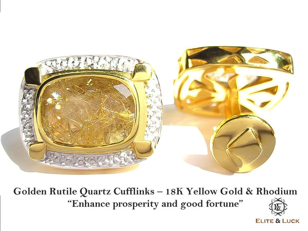 "Golden Rutile Quartz Sterling Silver Cufflinks ""Royal Quality"", 18K Yellow Gold & Rhodium plated, Luxury Model"