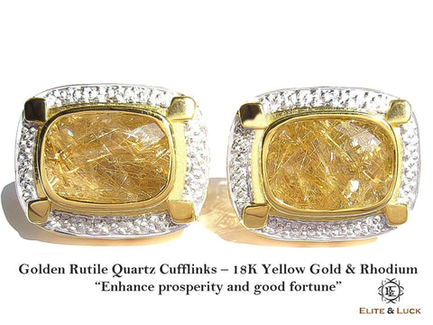 "Golden Rutile Quartz Sterling Silver Cufflinks ""True King's Quality"", 18K Yellow Gold & Rhodium plated, Luxury Model"