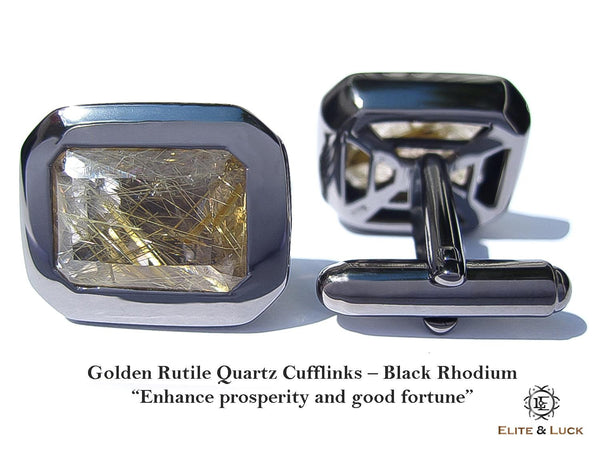 Golden Rutile Quartz Sterling Silver Cufflinks, Black Rhodium plated, Classic Model