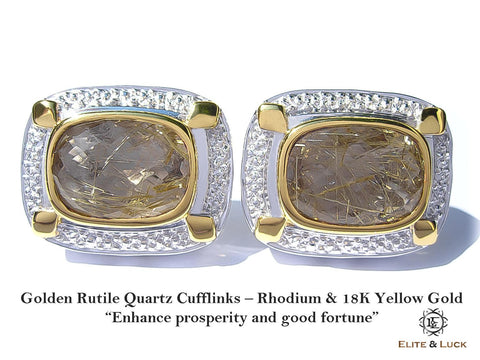 Golden Rutile Quartz Sterling Silver Cufflinks, Rhodium & 18K Yellow Gold plated, Luxury Model
